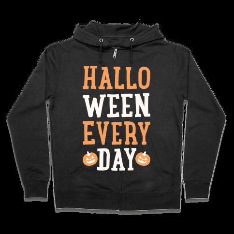 Halloween Every Day (White) Zip Hoodie