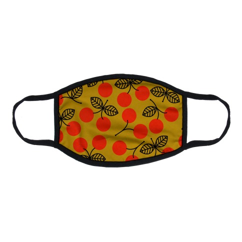Vintage Cherry Yellow Pattern Flat Face Mask