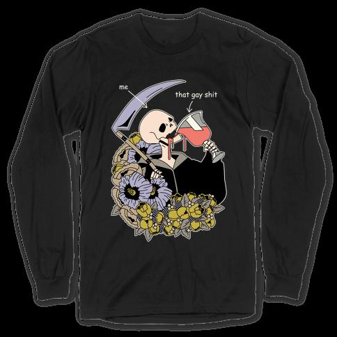 Skeleton Drinking Wine Long Sleeve T-Shirt