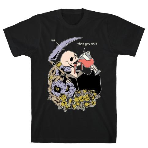Skeleton Drinking Wine T-Shirt