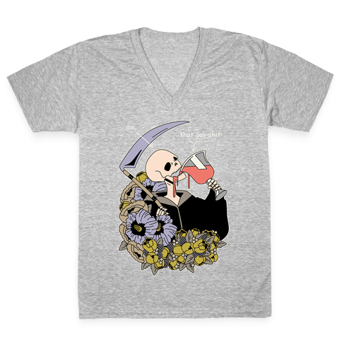 Skeleton Drinking Wine V-Neck Tee Shirt