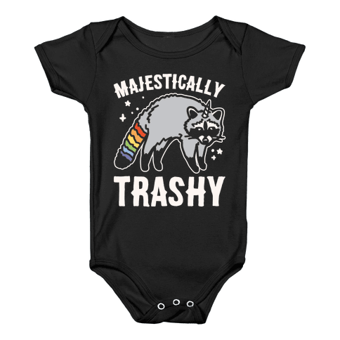 Majestically Trashy Raccoon White Print Baby Onesy