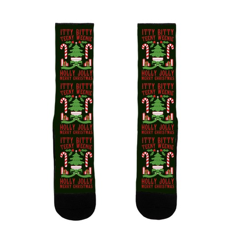 Itty Bitty Teeny Weenie Holly Jolly Merry Christmas Sock