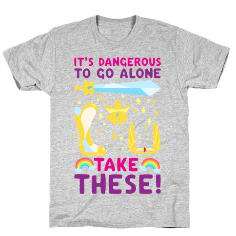 It's Dangerous To Go Alone Take These She-Ra Parody White Print T-Shirt