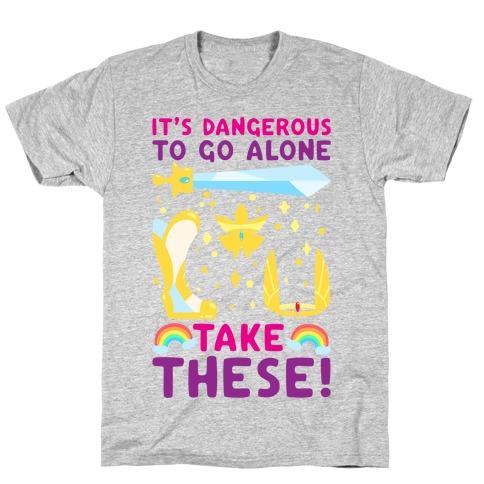 It's Dangerous To Go Alone Take These She-Ra Parody White Print T-Shirt