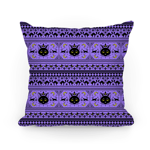 Witchy Black Cats Ugly Sweater Pillow