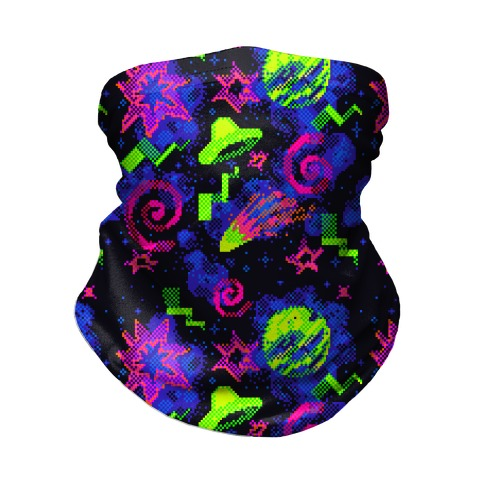 Faux Retro Arcade Carpet Pattern Neck Gaiter