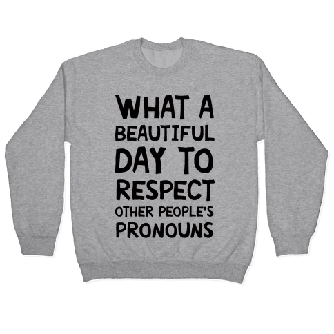 What A Beautiful Day To Respect Other People's Pronouns Pullover