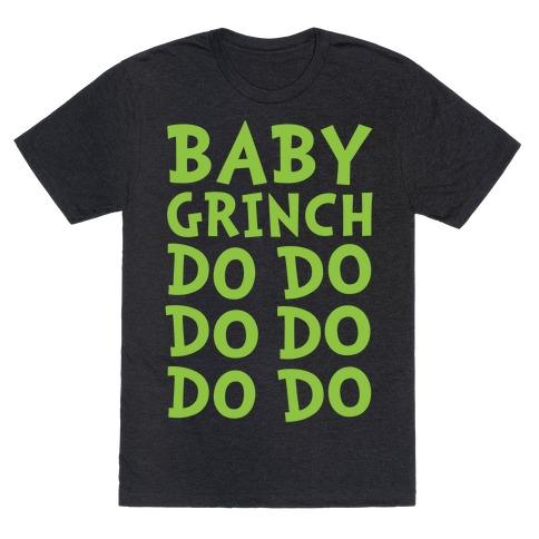 Baby Grinch Baby Shark Parody White Print T-Shirt
