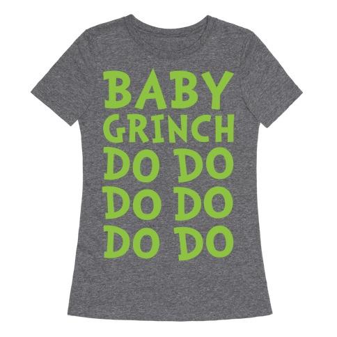 Baby Grinch Baby Shark Parody White Print Womens T-Shirt