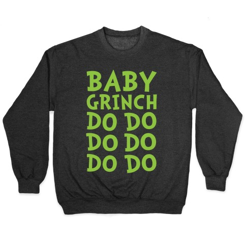 Baby Grinch Baby Shark Parody White Print Pullover