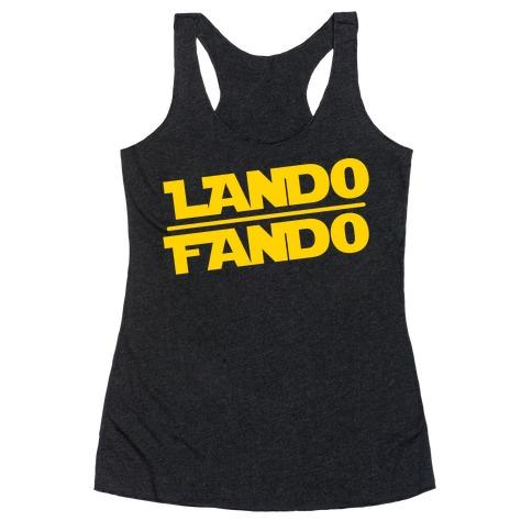 Lando Fando Parody White Print Racerback Tank Top