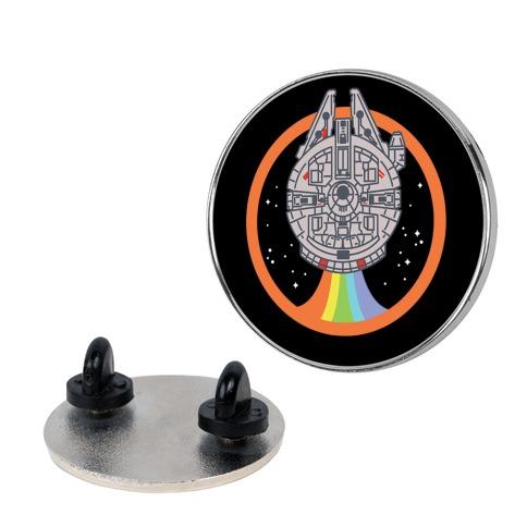 Retro Rainbow Falcon Pin