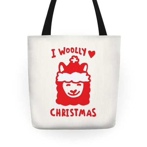 I Woolly Love Christmas Llama Tote