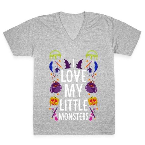 I Love My Little Monsters V-Neck Tee Shirt