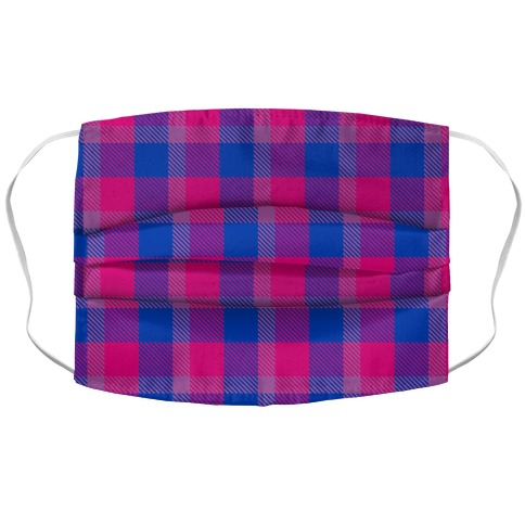 Bi Pride Flag Plaid Accordion Face Mask