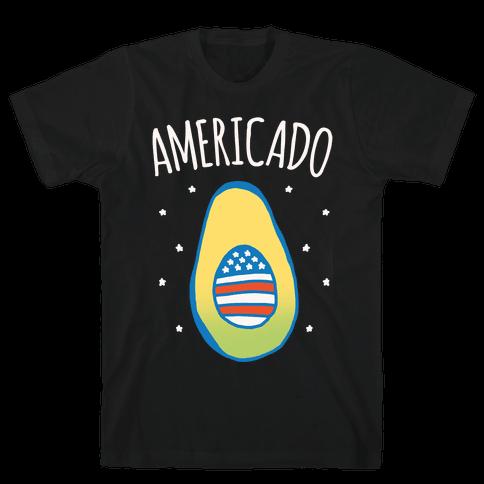 Americado Parody White Print Mens T-Shirt