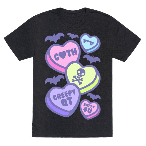 Goth Candy Hearts White Print T-Shirt
