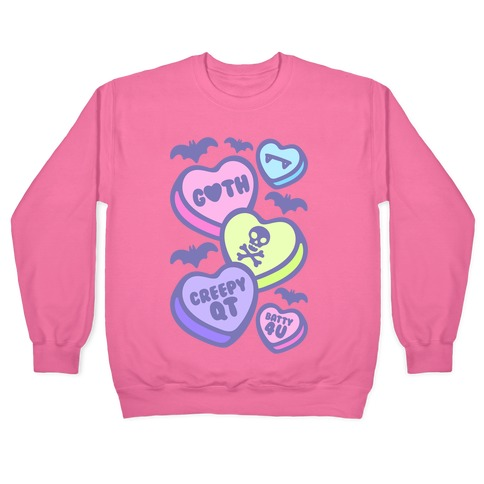 Goth Candy Hearts White Print Pullover