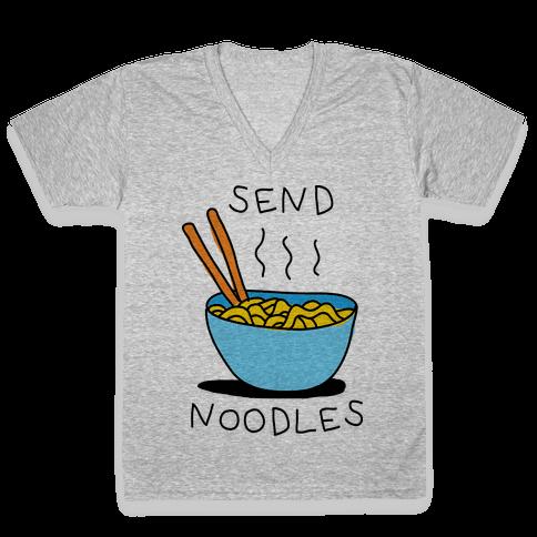 Send Noodles V-Neck Tee Shirt