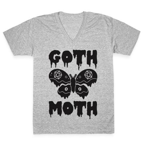 Goth Moth V-Neck Tee Shirt