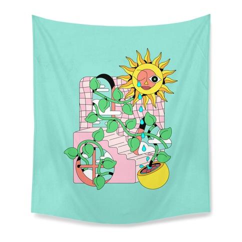 Trippy Sunflower Shower  Tapestry