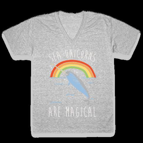 Sea Unicorns Are Magical White Font V-Neck Tee Shirt