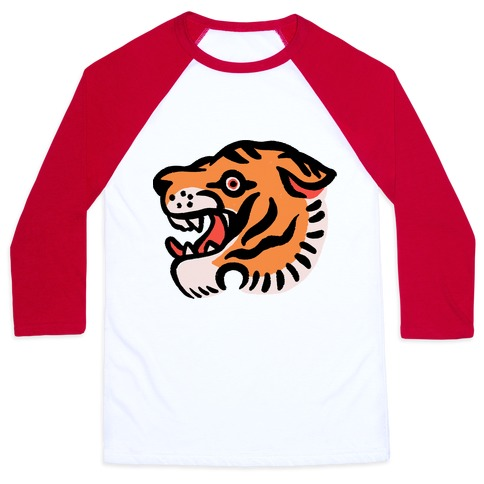 Old School Tiger Tattoo Head Baseball Tee