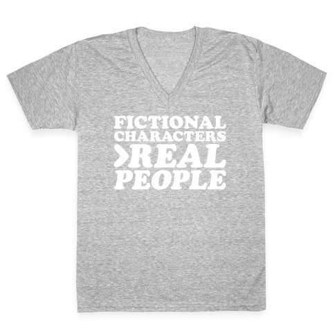 Fictional Characters > Real People White Print V-Neck Tee Shirt