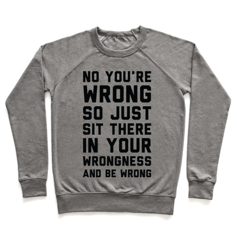 No You're Wrong So Just Sit There In Your Wrongness And Be Wrong Pullover