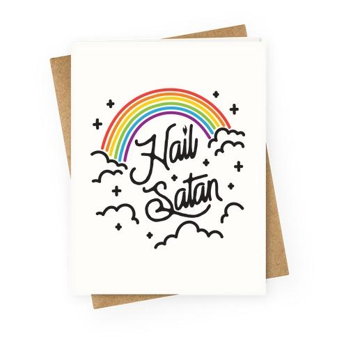 Hail Satan Rainbow Greeting Card