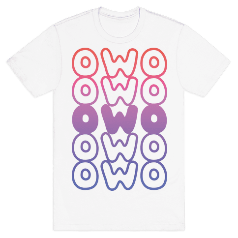 OWO Anime Emoticon Face Mens T-Shirt