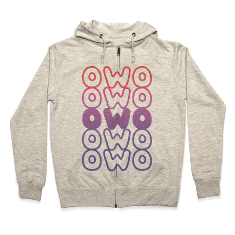 OWO Anime Emoticon Face Zip Hoodie