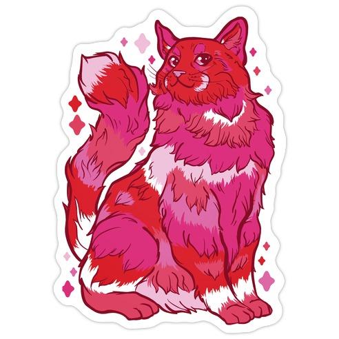Lesbian Pride Cat Die Cut Sticker
