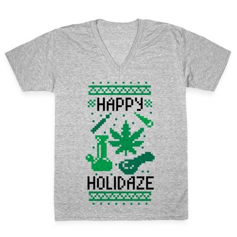 Happy Holidaze V-Neck Tee Shirt