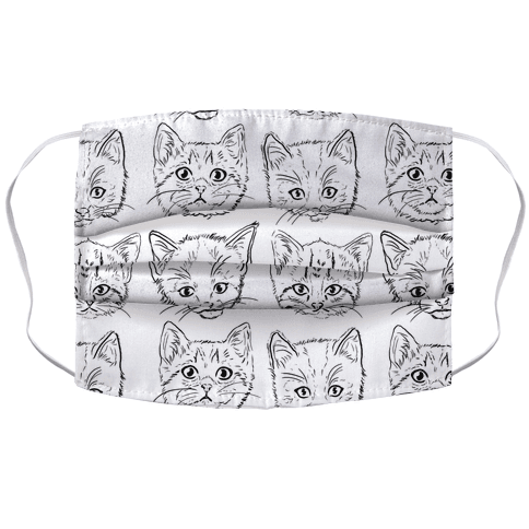 Black and White Kitten Square Pattern Face Mask Cover