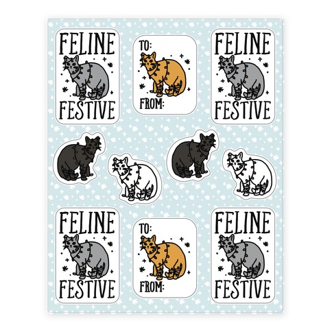 Feline Festive Sticker Sheet Sticker and Decal Sheet