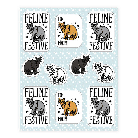 Feline Festive Sticker Sheet Sticker/Decal Sheet