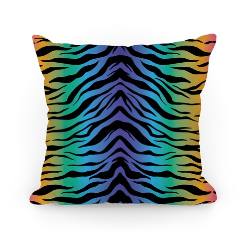 Tiger Stripe Rainbow 90s Pattern Pillow