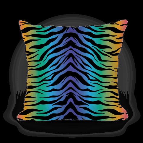Tiger Stripe Rainbow 90s Pattern Pillow