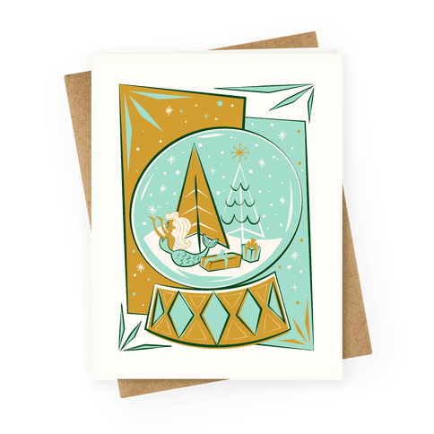 Mid-Century Modern Mermaid Holiday Snow Globe Greeting Card