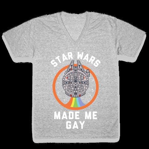 Star Wars Made Me Gay V-Neck Tee Shirt
