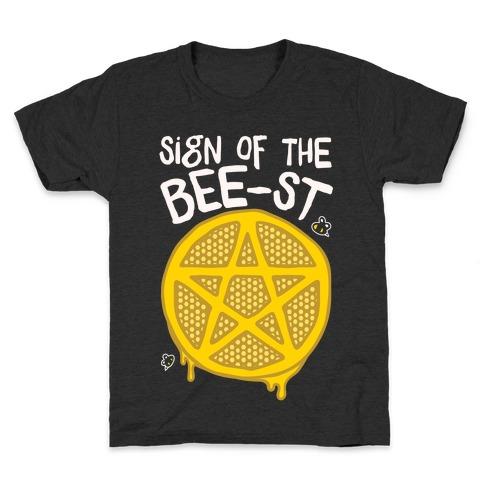 Sign Of the Bee-st Satanic Bee Parody White Print Kids T-Shirt