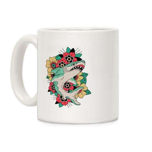 Floral Shark Traditional Tattoo Coffee Mug