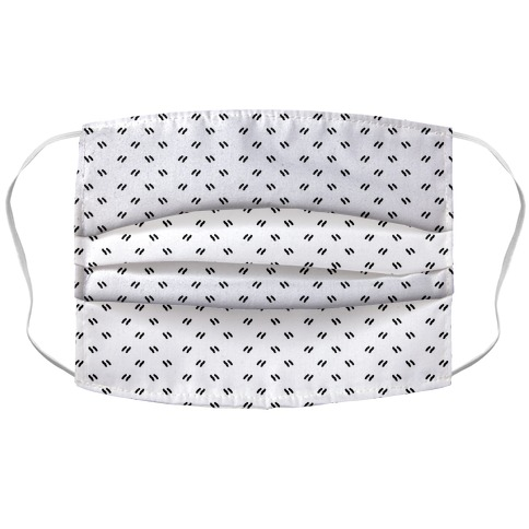Dainty Dashes Pattern White Accordion Face Mask