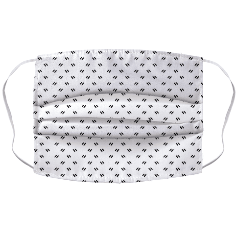 Dainty Dashes Pattern White Face Mask