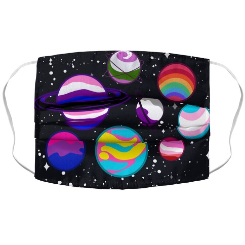 LGBTQ+ Planets Accordion Face Mask