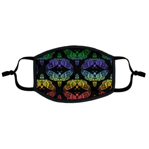 Rainbow Moth Pattern Flat Face Mask