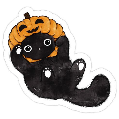 Halloween Pumpkin Cat Die Cut Sticker