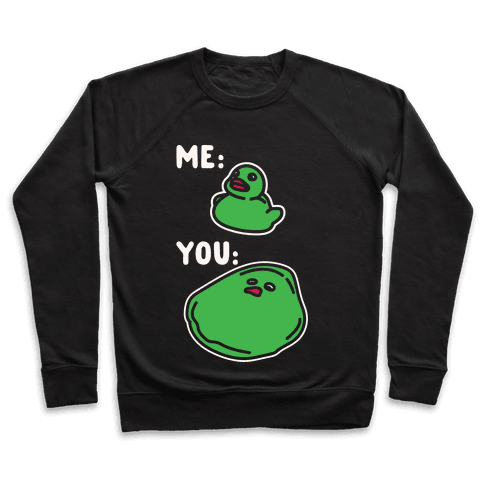 Me vs You Melting Ducky Meme White Print Pullover